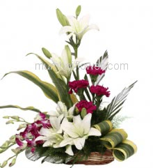 Bouquet Arrangement of 3 White Lilies 5 Carnations and 5 Purple Orchids with fillers greens