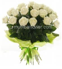 Hand Bouquet of 20 White Roses with fillers and ribbons and Color Paper Packing