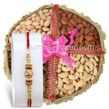 Basket of Half KG. Mixed Dry Fruit and 1pc Rakhi Free, send this beautiful basket on this Raksha Bandhan. Please note : Rakhi Design / Basket / Boxes /  Container may be replaced in case of unavailability/out of stock.