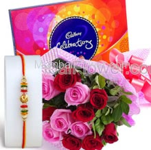 Bunch of 12 Red and Pink roses and Small Cadbury Celebration 130gms. with 1pc Rakhi Free, Raksha Bandhan Express Combo with sweetness of chocolates. Please note : Rakhi Design / Basket / Boxes /  Container may be replaced in case of unavailability/out of stock.