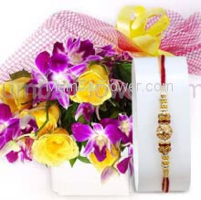 Bunch of 6 PC Yellow Roses and 3 PC Orchids with Plastic Cellophane packing with 1pc Rakhi. Please note : Rakhi Design / Basket / Boxes /  Container may be replaced in case of unavailability/out of stock.