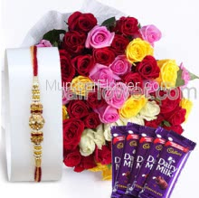 Bunch of 50 Mixed Colored Roses with paper Packing and Small 4 PC Dairy Milk Chocolate 25gm. with 1pc Rakhi. Please note : Rakhi Design / Basket / Boxes /  Container may be replaced in case of unavailability/out of stock.