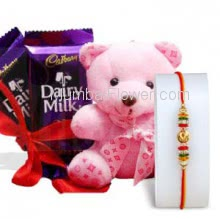6 Inch Teddy and 2 PC Cadbury Dairy milk Chocolate with 1pc Rakhi, Raksha Bandhan Soft toy and chocolate combo. Please note : Rakhi Design / Basket / Boxes /  Container may be replaced in case of unavailability/out of stock.