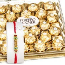 24 pc Ferrero Rocher Chocolate with 1pc Rakhi, Ferrero Rocher Raksha Bandhan Combo. Please note : Rakhi Design / Basket / Boxes /  Container may be replaced in case of unavailability/out of stock.
