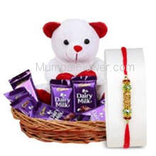 Basket of 10pc Dairy milk Chocolates 25gm and 6 inch Teddy with 1pc Rakhi. Please note : Rakhi Design / Basket / Boxes /  Container may be replaced in case of unavailability/out of stock.