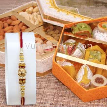 Box of 250gm. Mixed Mithai and 250 gm. Mixed Dry Fruit with 1pc Rakhi. Please note : Rakhi Design / Basket / Boxes /  Container may be replaced in case of unavailability/out of stock.