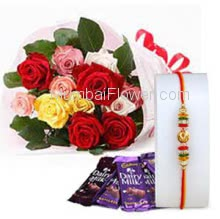 Bunch of 12 Mixed Color Roses with Plastic Cellophane packing and 4pc Cadbury Dairy milk Chocolate 25.gm with 1pc Rakhi. Please note : Rakhi Design / Basket / Boxes /  Container may be replaced in case of unavailability/out of stock.