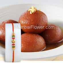 1 Kg. Gulab Jamun with 1pc Rakhi. Please note : Rakhi Design / Basket / Boxes /  Container may be replaced in case of unavailability/out of stock.
