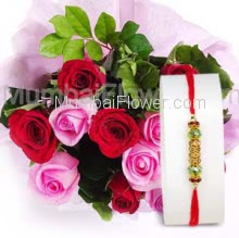 Bunch of 15 Red and Pink Roses with Paper Packing and 1pc Rakhi. Please note : Rakhi Design / Basket / Boxes /  Container may be replaced in case of unavailability/out of stock.