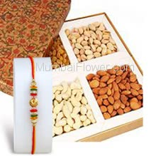 250 gm. Mixed Dry Fruit with 1pc Rakhi. Please note : Rakhi Design / Basket / Boxes /  Container may be replaced in case of unavailability/out of stock.