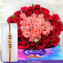 Bunch of 50 Pink and Red Roses with Paper Packing and 1pc Small Cadbury Celebration 130gm. with 1pc Rakhi. Please note : Rakhi Design / Basket / Boxes /  Container may be replaced in case of unavailability/out of stock.