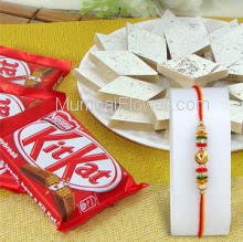 Box of 250 gm. Kaju Katli and 3 PC KitKat Chocolate with 1pc Rakhi. Please note : Rakhi Design / Basket / Boxes /  Container may be replaced in case of unavailability/out of stock.