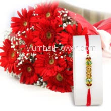 Bunch of 10 PC Red Gerberas with 1pc Rakhi, Gerberas Raksha Bandhan Combo. Please note : Rakhi Design / Basket / Boxes /  Container may be replaced in case of unavailability/out of stock.