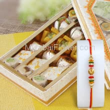 Box of 500 gm. Mixed Mithai with 1pc Rakhi. Please note : Rakhi Design / Basket / Boxes /  Container may be replaced in case of unavailability/out of stock.