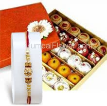 Box of Half kg. mixed mithai with 1pc Rakhi. Please note : Rakhi Design / Basket / Boxes /  Container may be replaced in case of unavailability/out of stock.