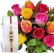 1pc Rakhi with Bunch of 15 Mixed Color Roses with fillers ribbons. Please note : Rakhi Design / Basket / Boxes /  Container may be replaced in case of unavailability/out of stock.