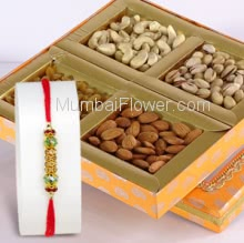 1pc Rakhi with 500gms of mixed Dryfruits. Please note : Rakhi Design / Basket / Boxes /  Container may be replaced in case of unavailability/out of stock.