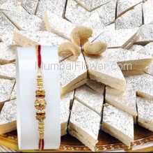 1pc Rakhi with 500gms Kaju Katli Mithai. Please note : Rakhi Design / Basket / Boxes /  Container may be replaced in case of unavailability/out of stock.