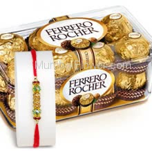 1pc Rakhi with Box of 16pc Fererro Rocher Chocolates. Please note : Rakhi Design / Basket / Boxes /  Container may be replaced in case of unavailability/out of stock.