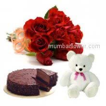 The best combination of gifts to make your evening so romantic,Bunch of 12 Red Roses. Half Kg. Chocolate Cake. 6 inches Teddy