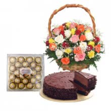 Perfect birthday gift the combination from mumbai flowers of 30 Mixed Roses, 24 pcs. Ferrero Rocher and Half Kg. Chocolate Cake