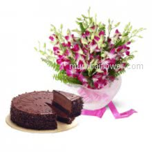 Show your gratitude to say Thank you with the bunch of 20 Orchids. Half kg. Chocolate Truffle cake