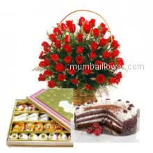 Oh! you are going to show your feelings of your heart should be in the special way with this Basket of 30 Red Roses. Half kg. Black forest cake. Half kg. Mixed Mithai
