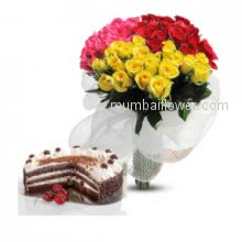 Say I love you with Bunch of 60 Mixed Roses. Half kg Black forest cake