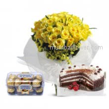 Nothing can take place of moms love wish her Happy Birthday with these Bunch of 30 Yellow Roses. 16 pc Ferroro Rocher Chocolates. Half kg Black forest cake