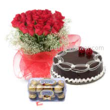The perfect gift for love red roses chocolate cake and ferroro rocher chocolates nothing more to say Bunch of 20 Red Roses. Half kg. Chocolate cake. 16 pc Ferroro Rocher Chocolate.