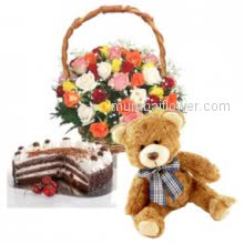 The beautiful Basket of 30 Mixed Roses with 12 inches cute Teddy and Half kg Black forest cake a wonderful gift combo.