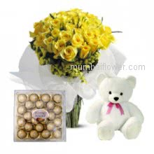 For a special friendship a special friendship combo- Bunch of 30 Yellow Roses. 24 pc Ferroro Rocher Chocolate.6 inches Teddy