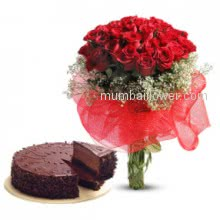 For your darling Bunch of 40 Red Roses. 1 kg. Chocolate Truffle cake.
