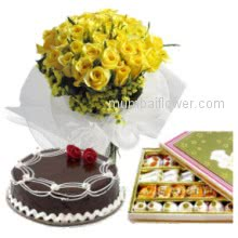 Wish your well wishe and good luck with Bunch of 30 Yellow Roses. Half kg Chocolate cake. Half kg. Mixed Mithi