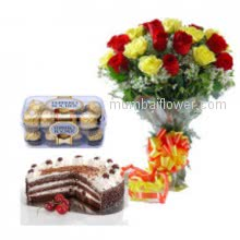 For the special person who made your life special your best friedn gift them Bunch of 20 Red and Yellow Roses. 16 pc Ferroro Rocher Chocolate. Half kg Black forest cake
