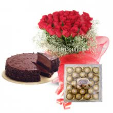 The special person to whom you love most,let them feel your love with thsi beautiful Bunch of 20 Red Rose sand  Half kg. Chocolate Truffle cake abd 24 pc Ferroro Rocher Chocolates.