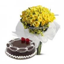 A perfect gift for any occasion Bunch of 40 Yellow Roses and Half kg Chocolate cake.
