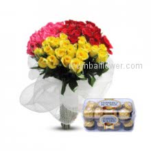 For your sweet heart a Bunch of 40 Mixed Roses with 16 pc Ferroro Rocher Chocolate