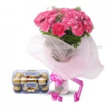 Gift for mother or daughter a Bunch of 20 carnation and 16 pc Ferroro Rocher Chocolate
