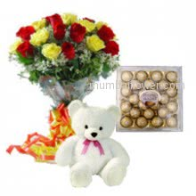 To meke that special person happy with the special happiness combo a Bunch of 30 Mixed Roses. 24 pc Ferroro Rocher Chocolate .6 inches Teddy