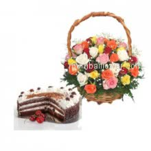 A perfect gift combo to say Thanks gratitudly with the Basket of 40 Mixed Roses with Half Kg and  Black Forest Cake