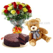 To refresh your relations with the Bunch of 30 Mixed Roses and 12 Inch Teddy with 1 Kg  Chocolate Truffle Cake