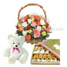 Gift for any occasion Basket of 30 Mixed Roses, Half Kg. Mixed Mithai, 6 Inch Teddy.