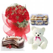 A combination of gifts with full of love- 30 Red Carnation Bunch, Half Kg. Black Forest Cake, 16pc Ferrero Rocher with 6 Inch Teddy.
