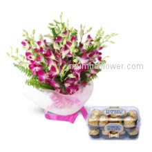 A beautiful Bunch of 20 Orchids with 16pc Ferroro Rocher for the special person whose presence make you feel yourself protected gift him the beautiful gift combo and say Be there for Me