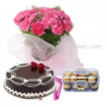 Wish the congrates and gift that lucky person!- Bunch of 20 Pink Carnation, Half Kg. Chocolate Cake and 16pc Ferrero Rocher