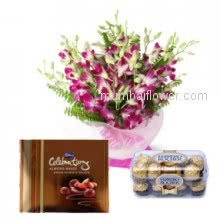 Perfect for any celebration beautiful Bunch of 10 Orchids a Small Cadbury Celebration pkt and 16 pcs Ferrero Rocher Chocolates.