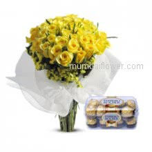 Want to make frienship, the cool way to say Be My Friend, with the Bunch of 30 Yellow Roses and Small Ferrero Rocher Chocolate.