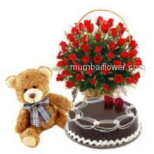 Make your evening romantic gift your special one saying ,For U Honey- a Basket of 30 Valentine Red Roses, 12 Inch Teddy and Half Kg. Chocolate Cake.
